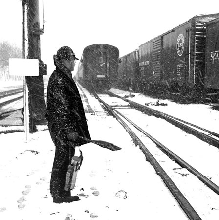 UPRR Rawlins, WY, 1953 Rear Brake/flagman for psgr train, 1953  8 x 10 inches vintage silver print