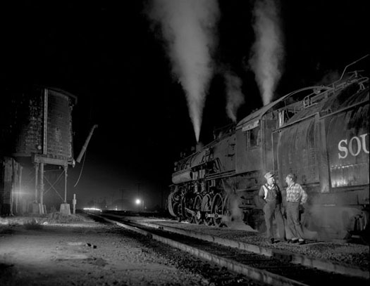 SPRR No.3625 2-10-2 and trainmen, Saugus, California, 1948  8 x 10 inches vintage silver print