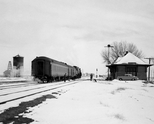 UPRR North Platte Express Yoder, WY, 1953  9 x 13 inches vintage silver print