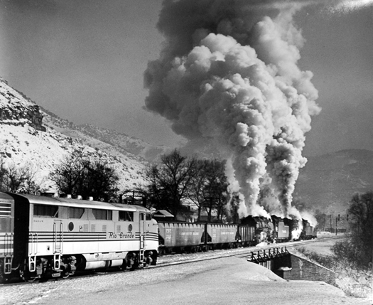 D&RGW meet between two freight trains at Castle Gate, UT in Price Canyon, 1951  11 x 14 inches vintage silver print