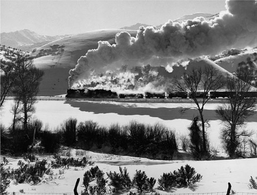 D&RGW No.1403 2-10-2 with coal drag in Spanish Fork, Canyon 2 miles from Thistle, UT, 1951  16 x 20 inches vintage silver print