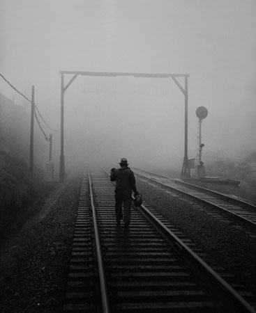 SPRR Track Walker in Bayshore Fog Commute District, 1949  14 x 11 inches vintage silver print