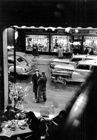 East 59th Street from Automat Cafeteria, NYC, 1/1950  11.125 x 8 inches silver print