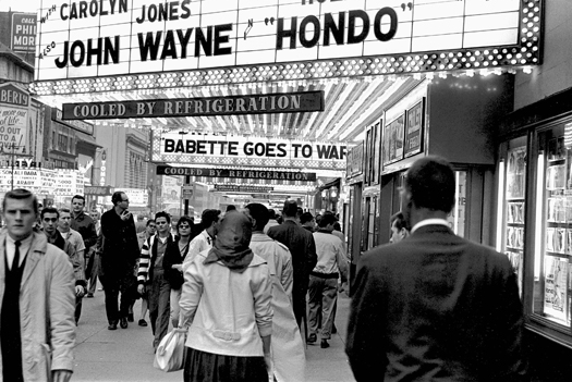 Movie Row, West 42nd Street, NYC, 1960  9 x 13.25 inches vintage silver print