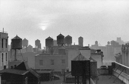 From Fifth Avenue & 21st Street, Water Tanks & Sun, Chelsea, NYC, 1959  8.625 x 13.125 inches vintage silver print mounted to board