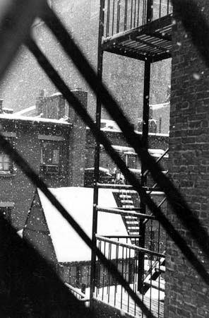 Falling Snow from Back Window, 133 West 22nd Street, NYC, 3/1958  10.75 x 7.125 inches silver print