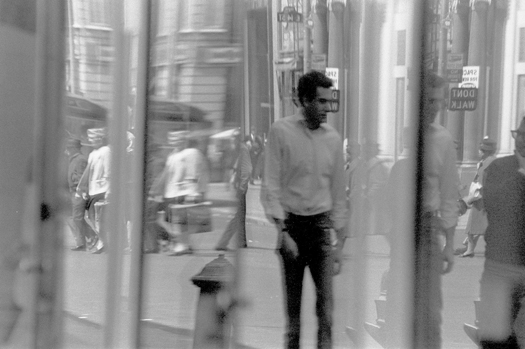 Window Reflections, Broadway and 13th Street, NYC, 1965  8.625 x 12.875 inches vintage silver print mounted to board