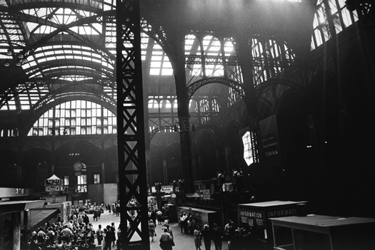 Penn Station, Glass-Roofed Waiting Room, NYC, 7/1964  8.625 x 13.125 inches vintage silver print mounted to board