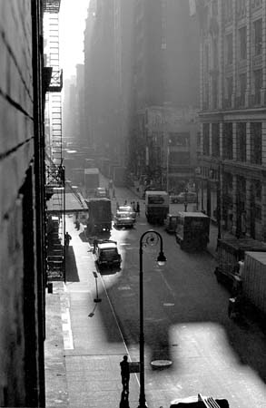 West 22nd Street, Sun & Shade from 133, NYC, 8/1960  13 x 8.625 inches vintage silver print mounted to board