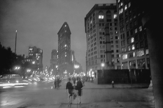 Flatiron Building, Night, from 26th Street, NYC, 10/1963  7 x 10.75 inches silver print
