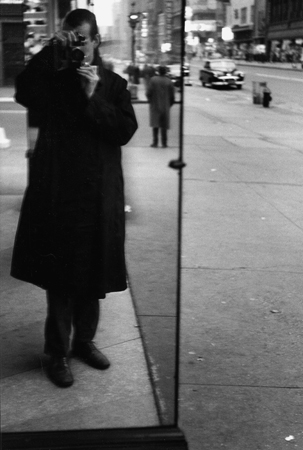 Self in Raincoat, 14th Street, NYC, 1952  13.5 x 9 inches silver print