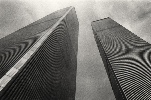 Michael Kenna Twin Towers, Study 1, New York, New York, 1976 8 x 7.25 inches toned silver print edition of 45