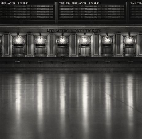 Michael Kenna Ticket Counters, Grand Central Station, New York, 2000 7.75 x 8 inches toned silver print edition of 45