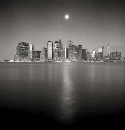 Moonset over Downtown, New York, 2006 7.75 x 7.75 inches edition of 45 toned silver print