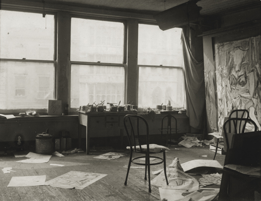 Walter Auerbach de Kooning's Studio, 85 Fourth Avenue, New York City, c.1950 3.25 x 4.25 inches vintage silver print
