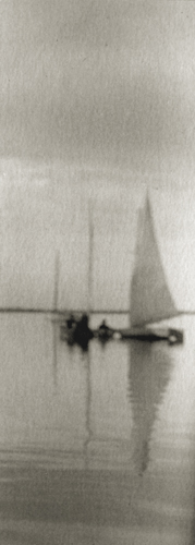 R. Redfield Becalmed, 1900 3.5 x 1.4 inches vintage platinum print