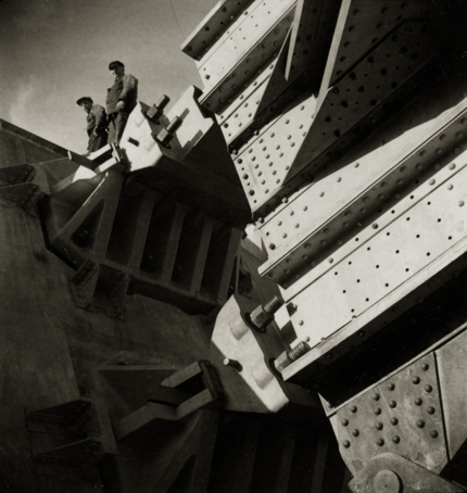 Emil Heilborn West Bridge Under Construction, Stockolm, 1934 2.75 x 2.25 inches vintage ferrotype print