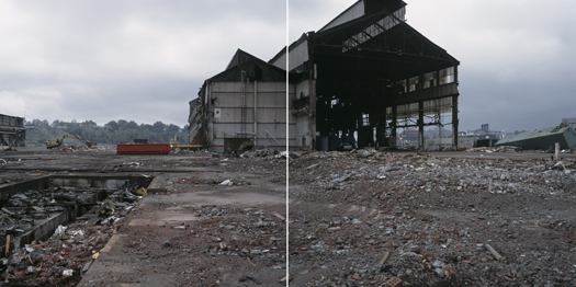 Abandoned LTV Steel Fabrication Plant Being Demolished, Cleveland, Ohio, 2004 24 x 38 inches edition of 7 archival pigment print