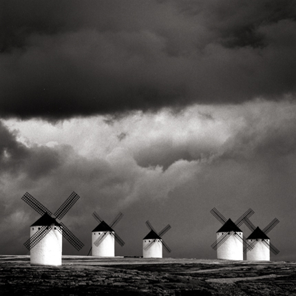 Quixote's Giants, Study #2, Campo de Criptana, La Mancha, Spain, 1996 7.5 x 7.5 inches edition of 45 toned silver print