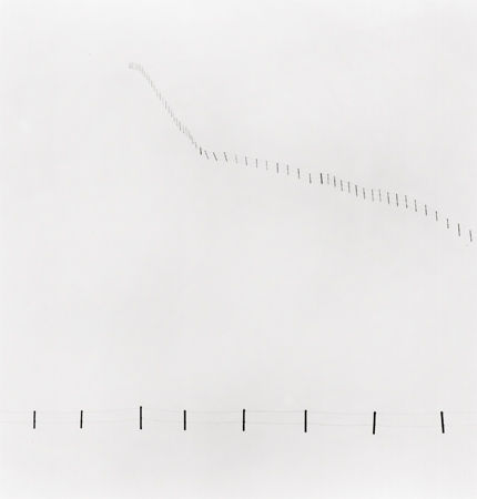 Hillside Fence, Study #3, Teshikaga, Hokkaido, Japan, 2002 7.75 x 7.5 inches edition of 45 toned silver print