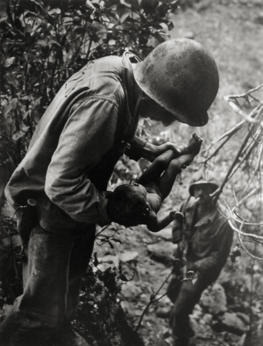 Sapian Soldiers and Baby, c.1944-45 from  World War II Essays, Life Magazine  20 x 16 inches silver print