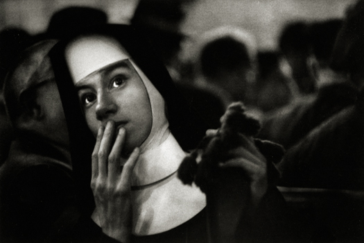 Nun Waiting for the Andrea Doria, 1956 7.5 x 14 inches silver print