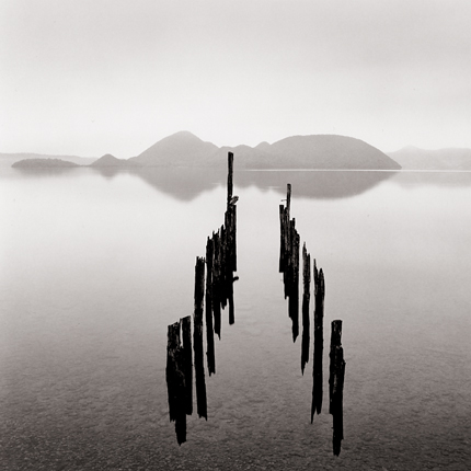 Pier and Nakashima Islands, Toya Lake, Japan, 2002 7.5 x 7.5 inches edition of 45 toned silver print
