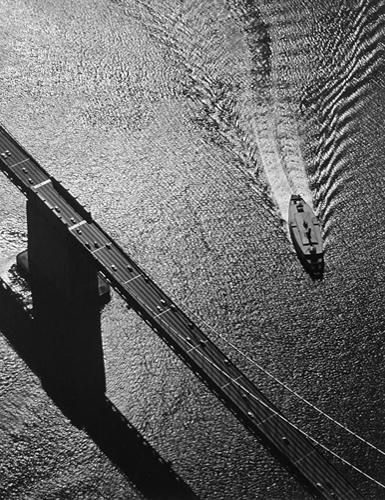 San Francisco Bay—Bridge, Pier, Ferry Boat, 1954 19 x 15 inches vintage silver print