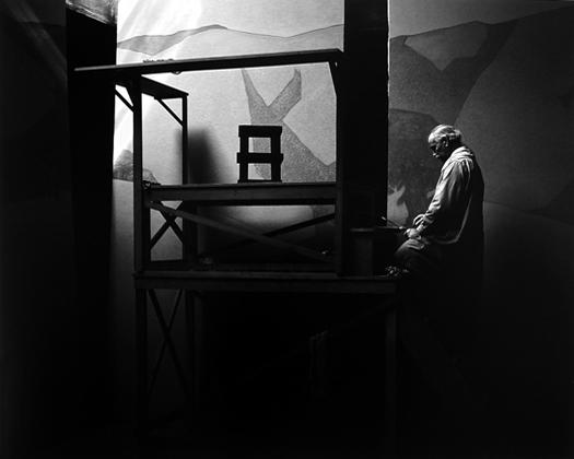 Gottardo Piazzonni in his Studio, San Francisco, c.1932 12.5 x 19.5 inches vintage silver print