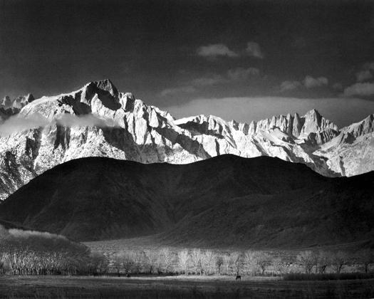 Winter Sunrise, Sierra Nevada from Lone Pine, California, 1944 15 x 19.5 inches silver print