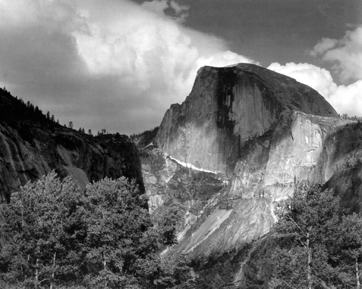 Half Dome, Cottonwood Trees, Yosemite National Park, California, 1932 10.5 x 14 inches silver print