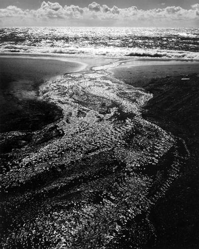 Stream, Sea, Clouds, Rodeo Lagoon, California, 1962 20 x 16 inches silver print