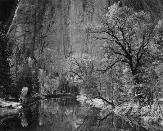 Merced River, Cliffs, Autumn, Yosemite Valley, c.1939 7.5 x 9.5 inches silver print