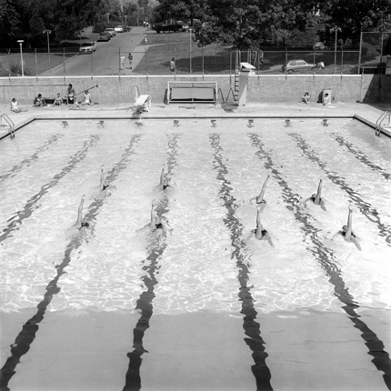 Synchronized Swimming, Riverside, California, 1982 13.75 x 13.75 inches vintage silver print