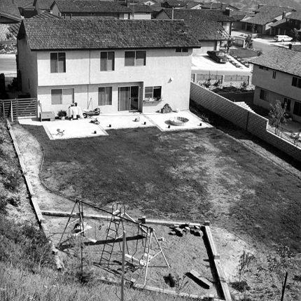 Backyard, California, 1980 from  Diamond Bar  13.75 x 13.75 inches vintage silver print