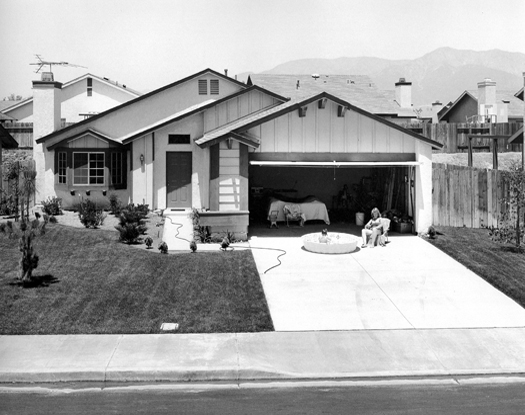 Sunning, Country Village, California, 1984 from  Subdividing the Inland Basin  14 x 17 inches vintage silver print