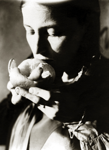 Untitled (Barbara eating fruit), c.1925-30 4.5 x 3.5 inches vintage silver print
