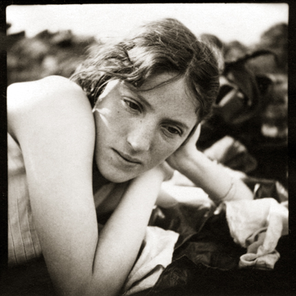 Untitled (Barbara, head resting on left hand), c.1920s 2.5 x 2.25 inches vintage silver print
