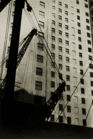 Untitled (New York Architectural Study with Cranes and Cables), c.1928-29 2.25 x 1.625 inches vintage silver print