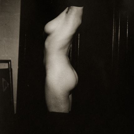 Standing Nude, Side View of Torso, c.1920s 2.5 x 2.25 inches vintage silver print