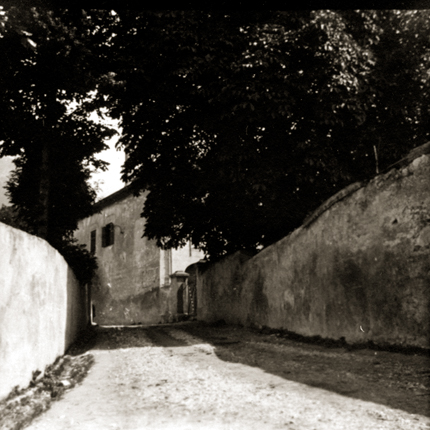 Narrow Road in Alpine Village, c.1920s 2.5 x 2.5 inches vintage silver print