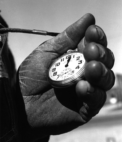 Track Foreman's Watch, Escalon, CA, 3/62 8 x 10 inches vintage silver print