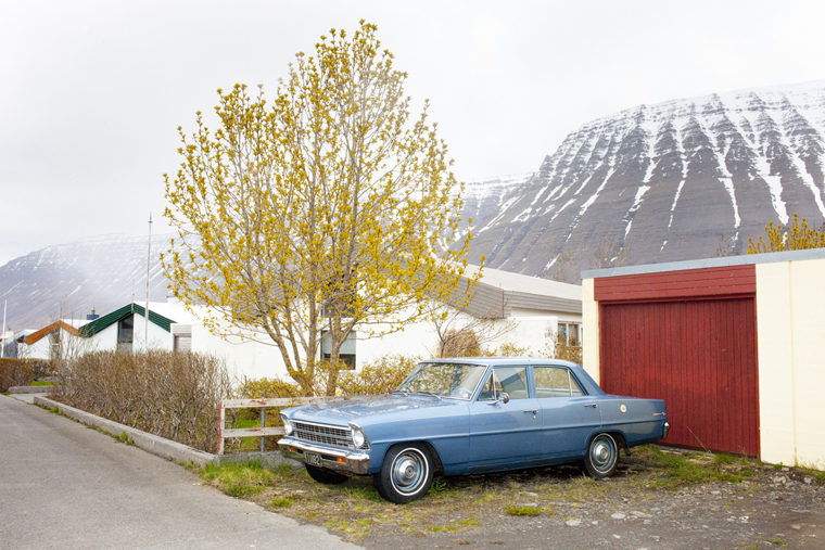 Blue Car, Ísafjörður, 2011 from the series:  Ísland  24 x 35.5 inches (edition of 8) 29.5 x 43.5 inches (edition of 8) archival pigment print