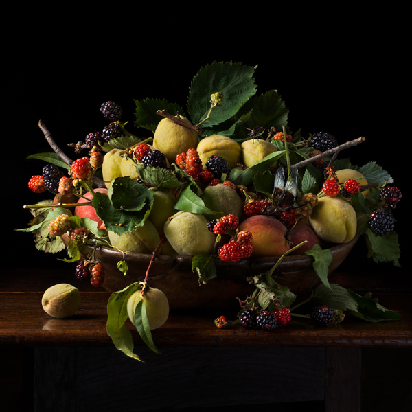 Blackberries and Peaches, after G.G., 2013 from the series:  Natura Morta  24 x 24 inches (edition of 7) 36 x 36 inches (edition of 5) archival pigment print