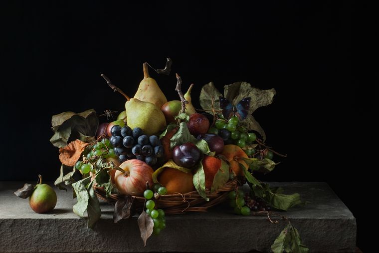 Basket of Fruit, after M.M.d.C., 2011 from the series:  Natura Morta  16 x 20 inches (edition of 15) 20 x 30 inches (edition of 7) 32 x 48 inches (edition of 5) archival pigment print