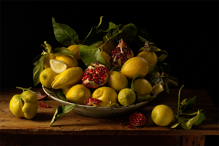 Lemons and Pomegranates, after J.V.H., 2010 from the series:  Natura Morta  16 x 20 inches (edition of 15) 20 x 30 inches (edition of 7) 32 x 48 inches (edition of 5) archival pigment print