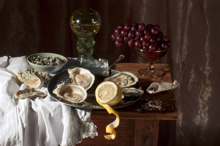 Oysters and Lemon, after W.C.H., 2008 from the series:  Natura Morta  16 x 20 inches (edition of 15) 20 x 30 inches (edition of 7) 32 x 48 inches (edition of 5) archival pigment print