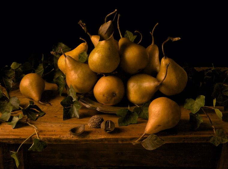 Pears, 2008 from the series:  Natura Morta  16 x 20 inches (edition of 15) 20 x 30 inches (edition of 7) 32 x 48 inches (edition of 5) archival pigment print