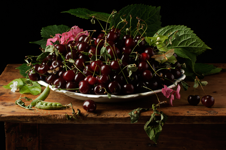 Sour Cherries, after G.G., 2011 from the series:  Natura Morta  16 x 20 inches (edition of 15) 20 x 30 inches (edition of 7) 32 x 48 inches (edition of 5) archival pigment print