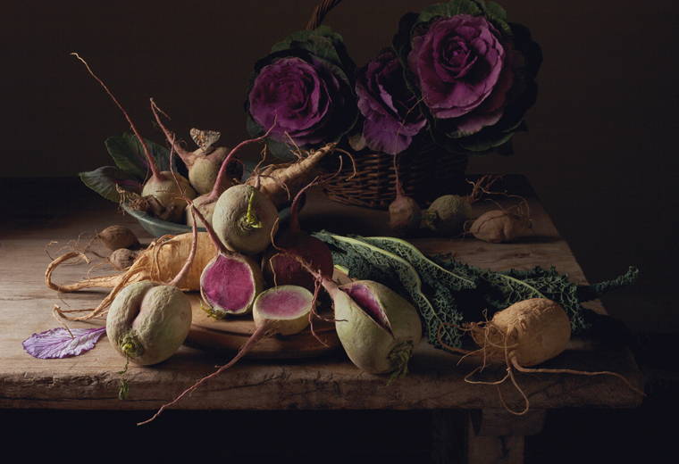 Watermelon Radishes, 2009 from the series:  Natura Morta  16 x 20 inches (edition of 15) 20 x 30 inches (edition of 7) 32 x 48 inches (edition of 5) archival pigment print